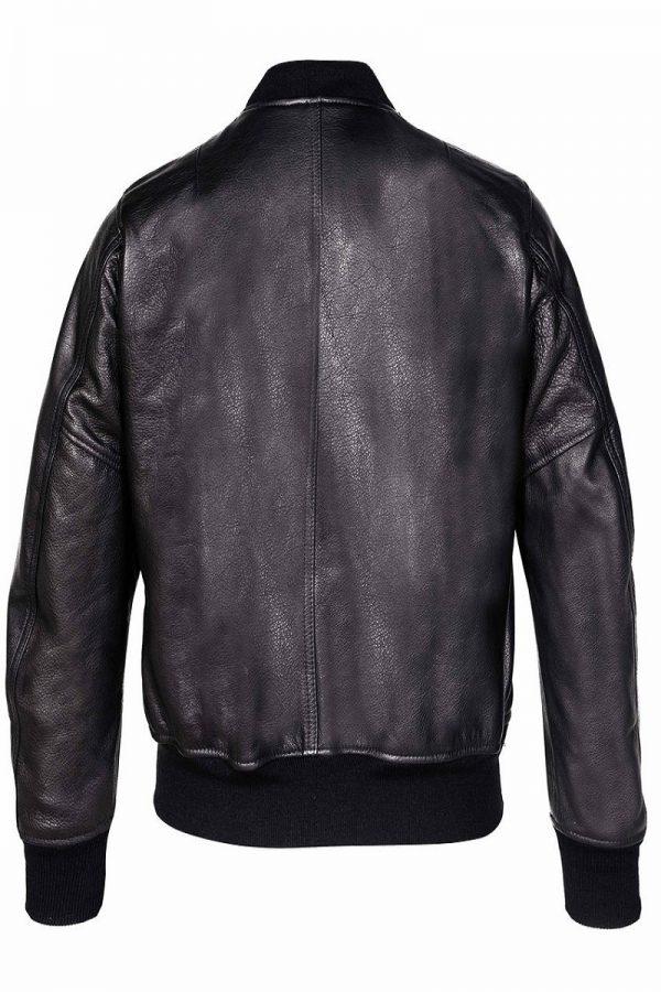 men pure black varsity jacket