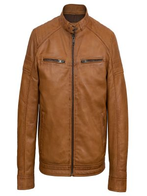 stylish brown leather jacket