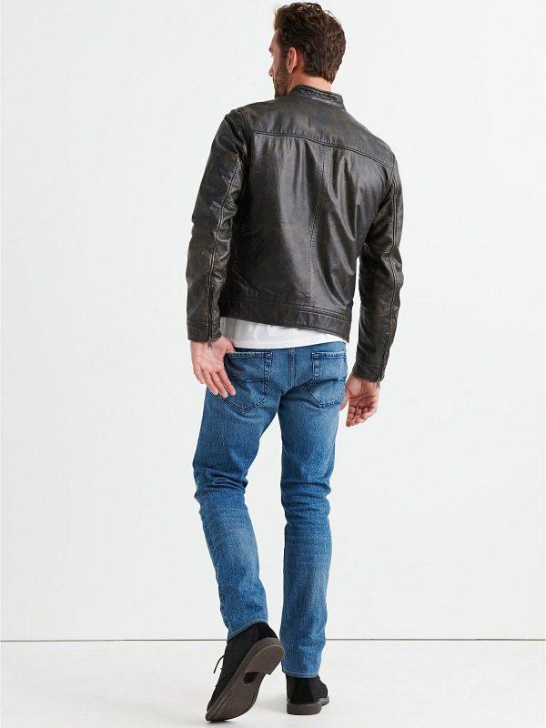 men faded black jacket