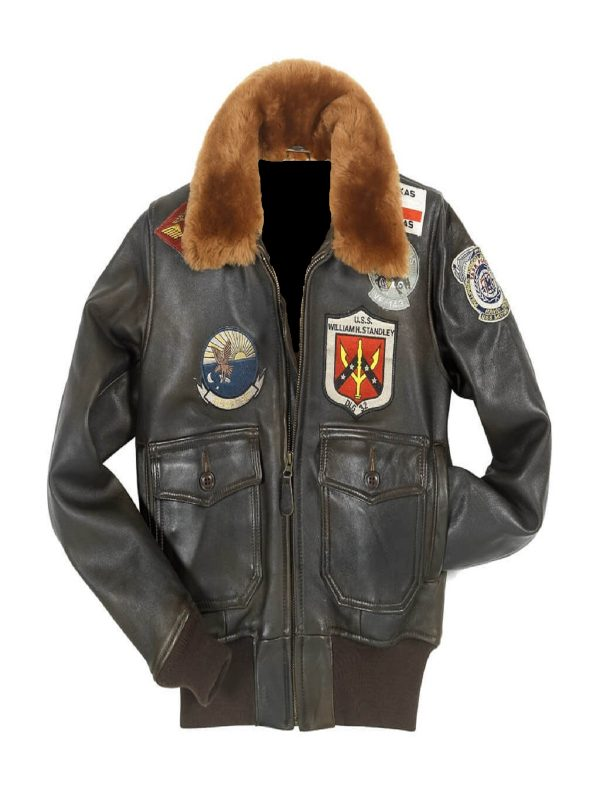women brown top gun leather jacket