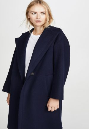 women blue wool long coat