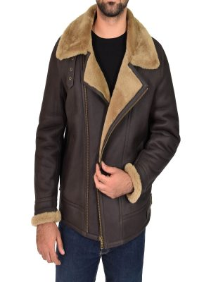 men shearling leather jacket