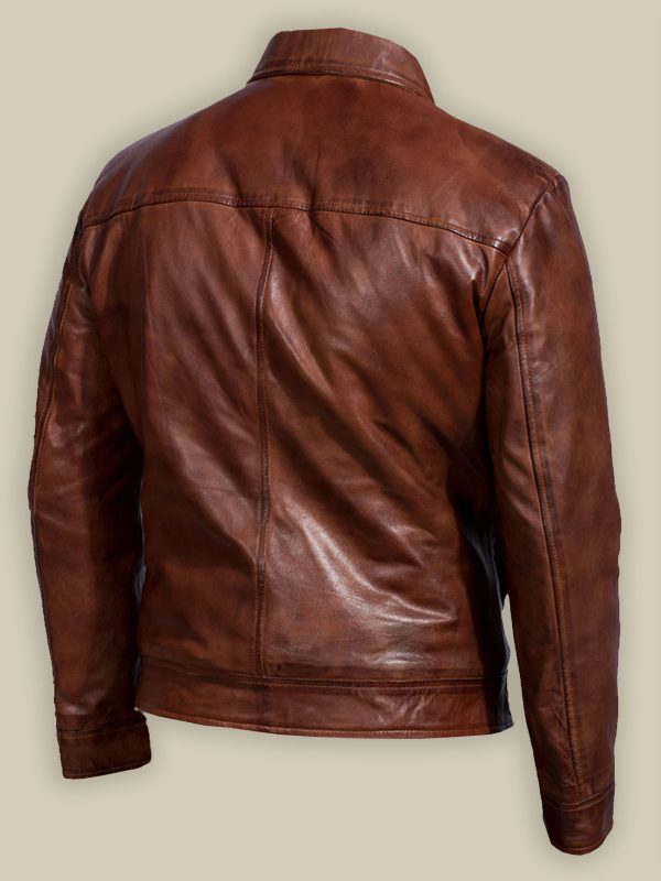 men reddish leather jacket