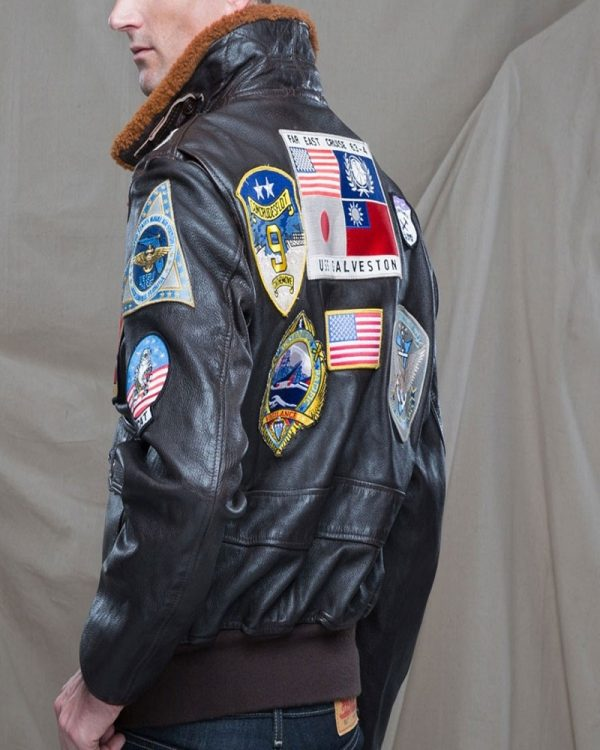 men brown top gun jacket