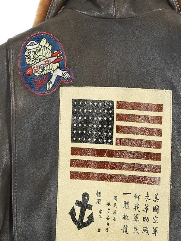 women brwon shearling leather jacket
