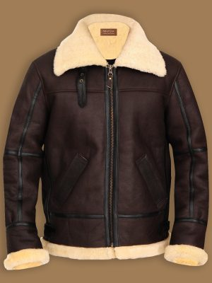 men brown b3 shearling jacket, men b3 bomber sheepskin jacket