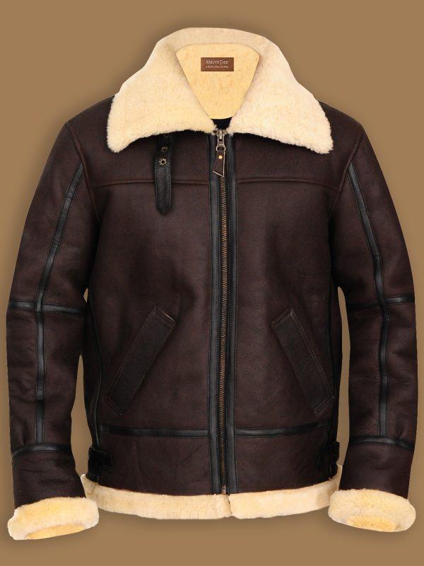 men brown b3 shearling jacket, men b3 bomber sheepskin jacket