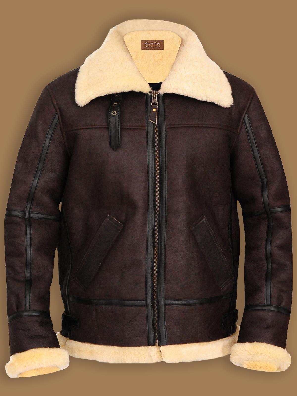 Men/'s Black FUR B3 Bomber Aviator Flying Sheep Genuine Leather Shearling Jacket