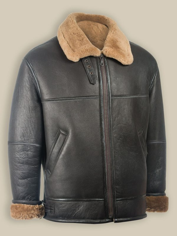 men black aviator sheepskin jacket