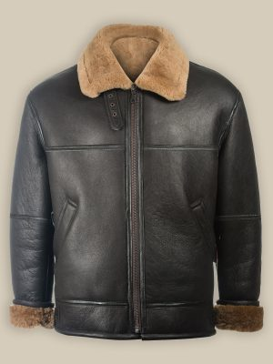 trending men black shearling jacket