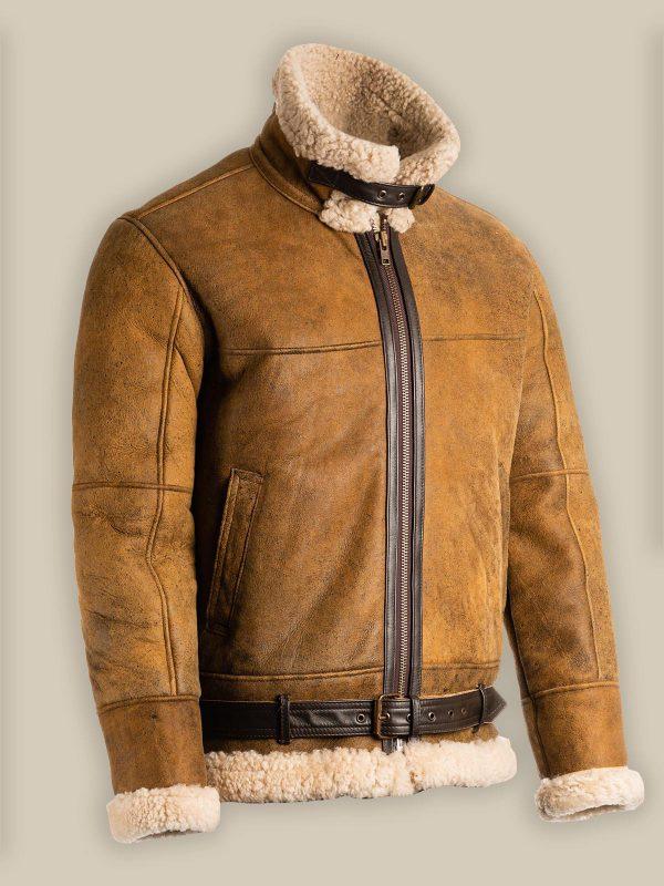trending mne distressed brown shearling jacket