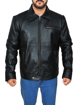 urban fashion black leather jacket, dashing black leather jacket,