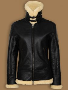 women b3 bomber aviator jacket, women black shearling jacket