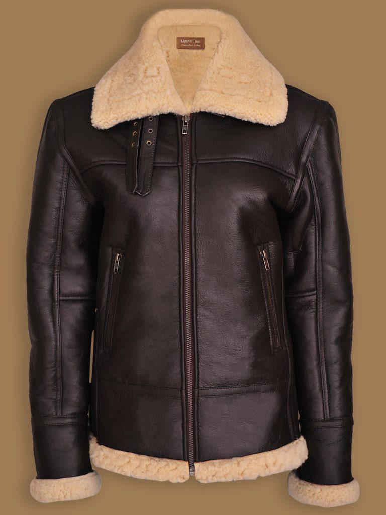 women b3 bomber aviator jacket, women brown b3 bomber sheepskin jacket,