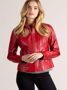 Women Red Leather Jacket