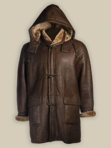 men trendy shearling trench