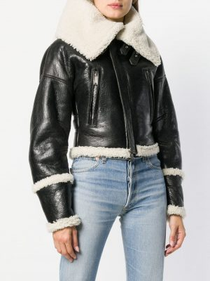 women short shearling leather jacket