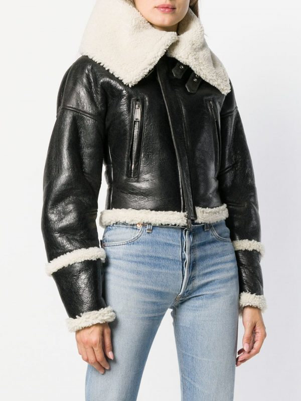 women short shearling leather jacket