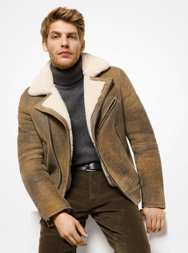 men brown shearling leather jacket