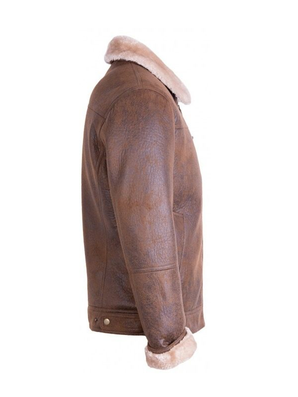 men brown sherling leather jacket