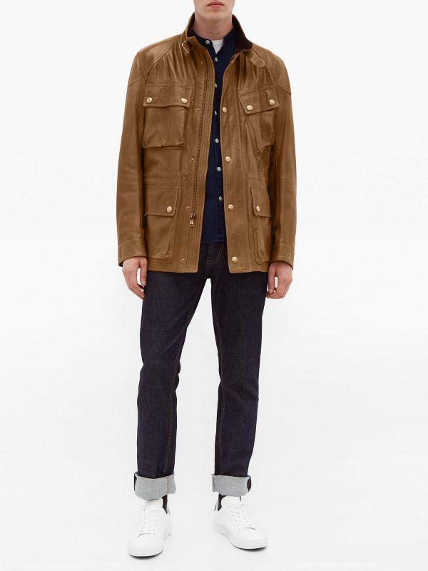 men utility leather jacket