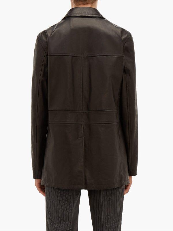 men brown long leather jacket