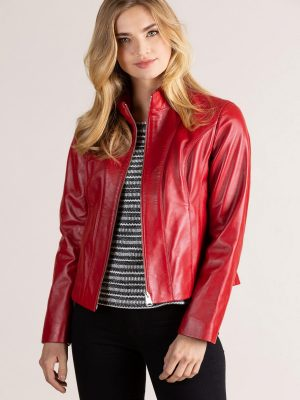 women rose red leather jacket