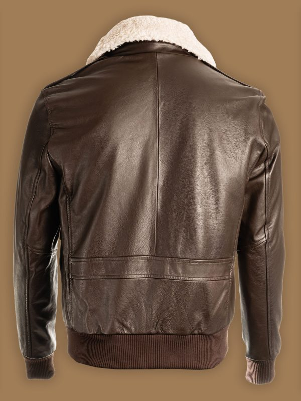 men brown aviator shearling jacket