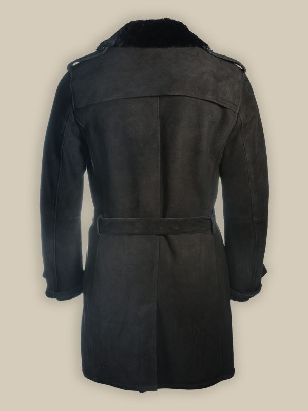 men shearling suede trench