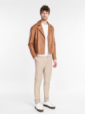 men tan biker leather jacket
