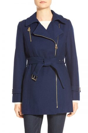 women navy blue trench