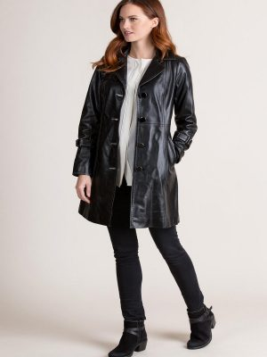 women pitch black leather trench