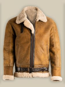 men brown b3 shearling leather jacket