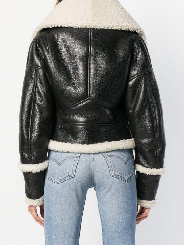 women jeet black shearling jacket