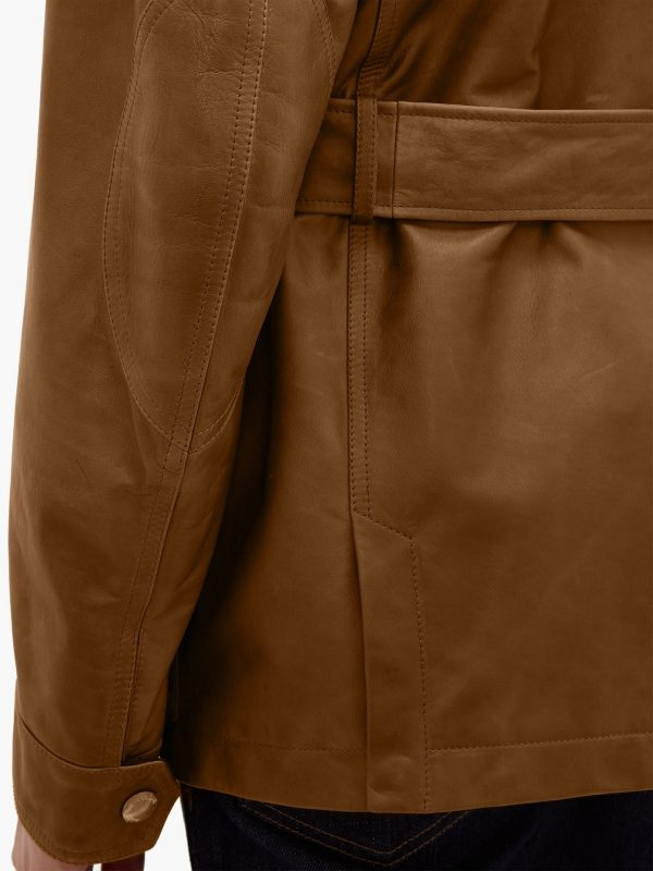 trending men brown utility leather jacket