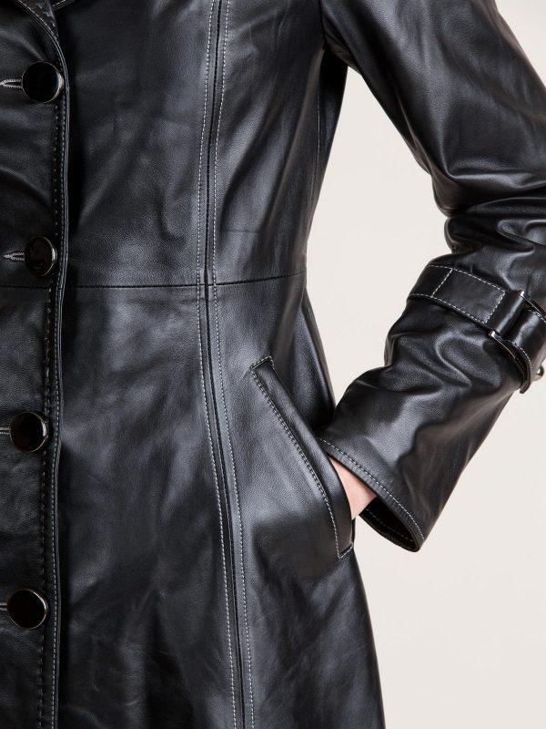 stylish women black leather trench
