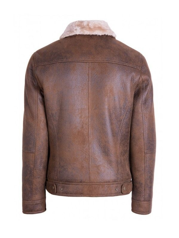 men brown sheepskin leather jacket