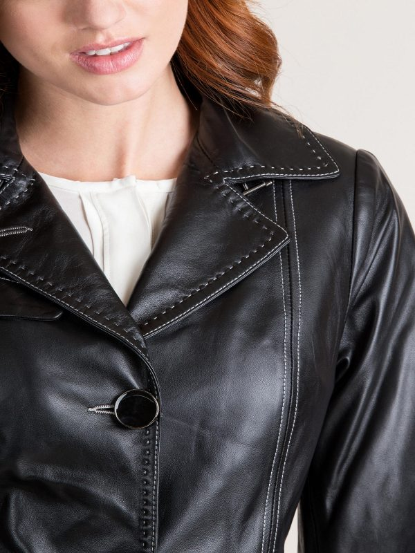 elegent black leather trench for women