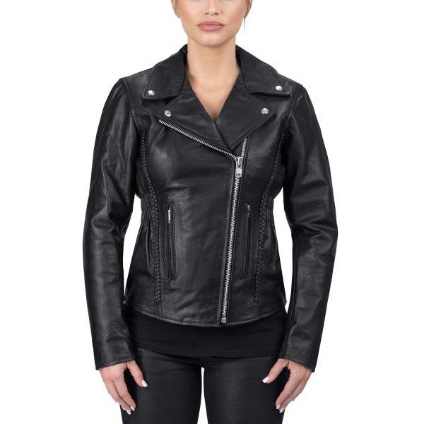 trendy women black biker jacket