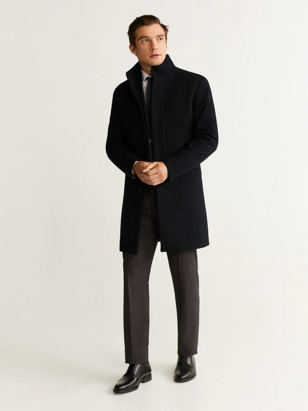 men black wool long trench