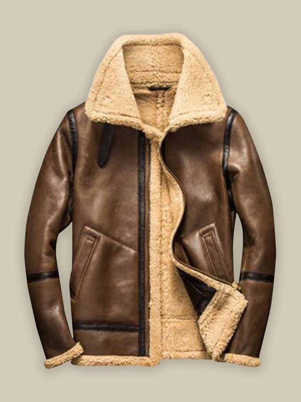 men trendy brown shearling jacket