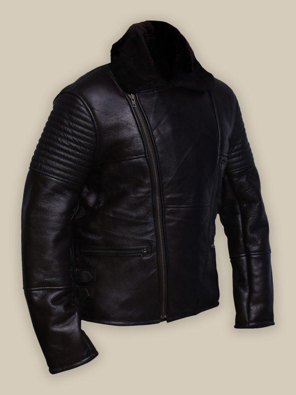 trendy black biker shearling jacket
