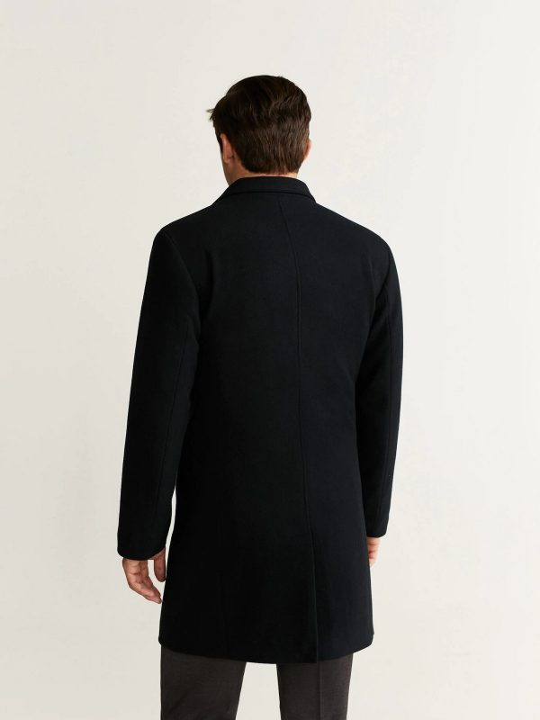 jet black wool trench