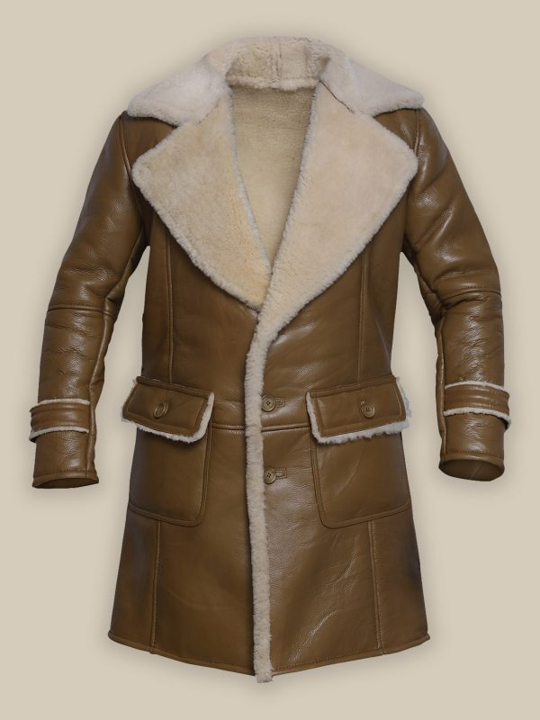 men brown leather trench