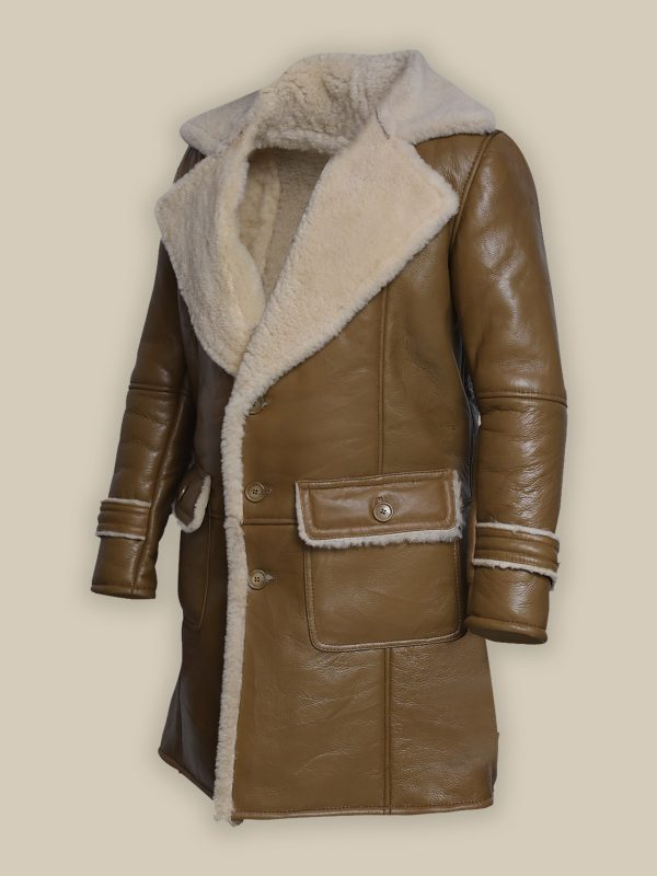 men brown shearling jacket