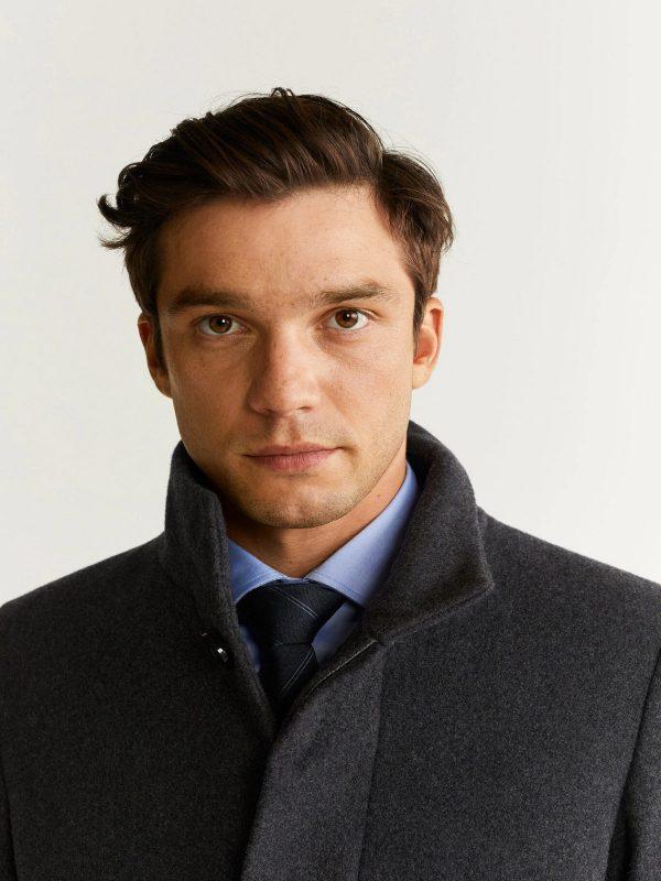 men grey long coat