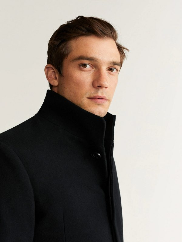 men black wool trrench