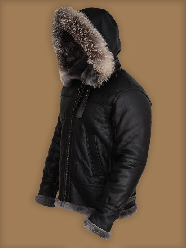 men stylish shearling hoodie jacket