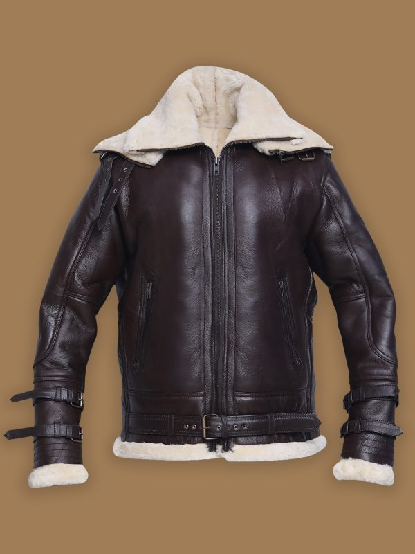 trendy men black shearling jacket