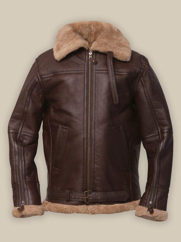men brown shearling jacket